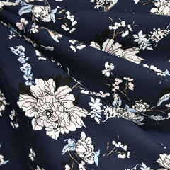 Romantic Vine Floral Jersey Knit Navy SY - Sold Out - Style Maker Fabrics