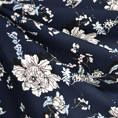 Romantic Vine Floral Jersey Knit Navy