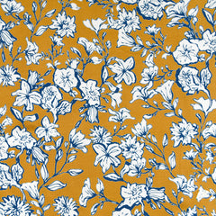 Ditsy Floral Outline Jersey Knit Mustard/Navy SY - Sold Out - Style Maker Fabrics