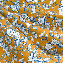 Ditsy Floral Outline Jersey Knit Mustard/Navy - Sold Out - Style Maker Fabrics