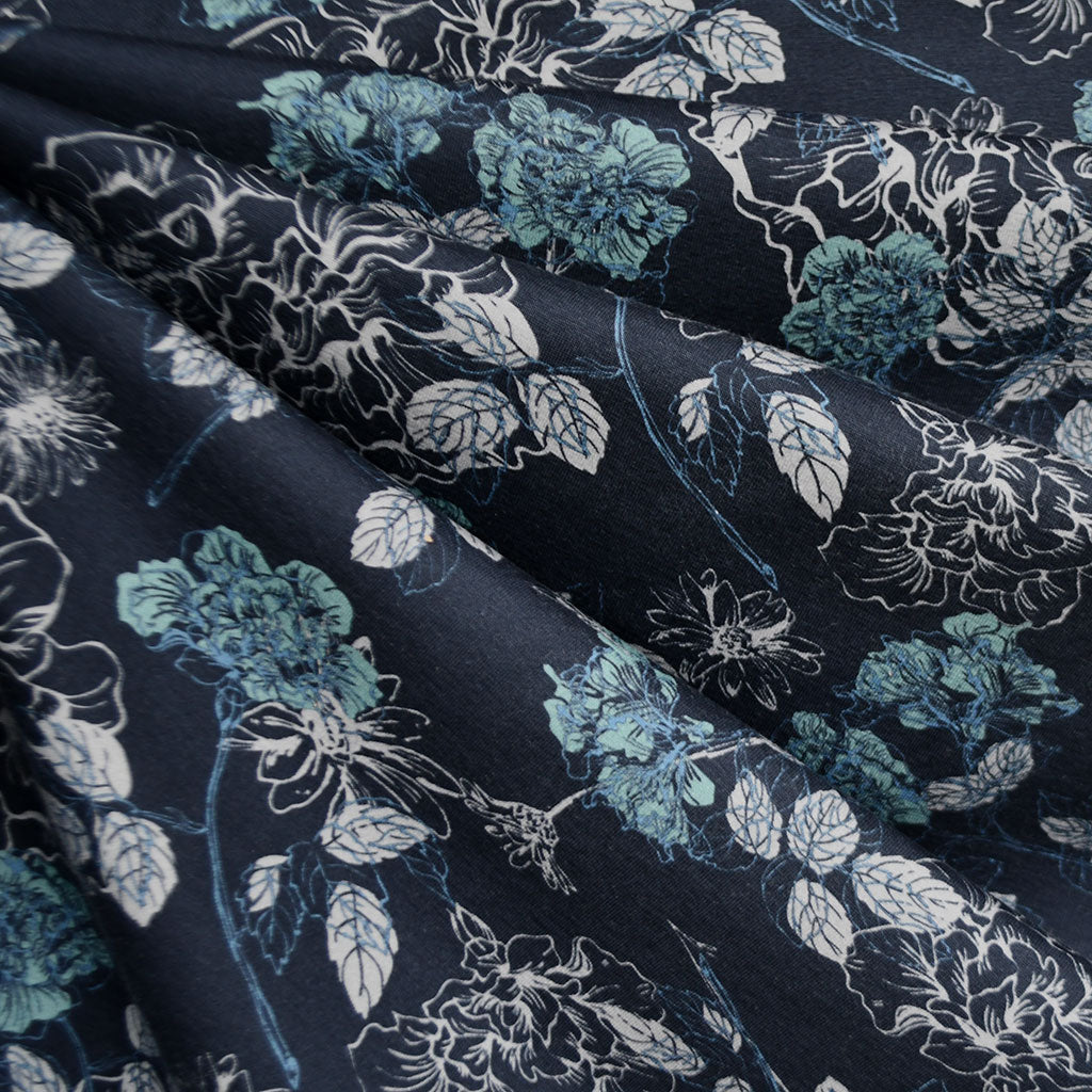Layered Leaf Floral Jersey Knit Navy - Sold Out - Style Maker Fabrics