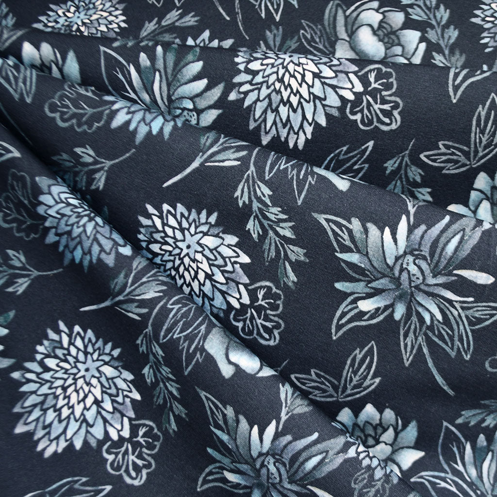Distressed Tonal Floral Jersey Knit Navy/Denim SY - Sold Out - Style Maker Fabrics