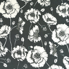 Poppy Botanical Floral Jersey Knit Charcoal/Vanilla - Sold Out - Style Maker Fabrics