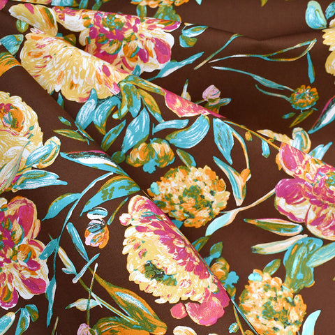 Marrakesh Prima Floral Pima Cotton Chocolate