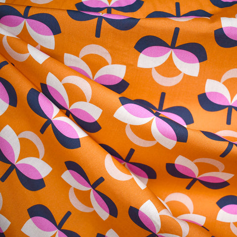 Butterscotch Mod Floral Rayon Creamsicle
