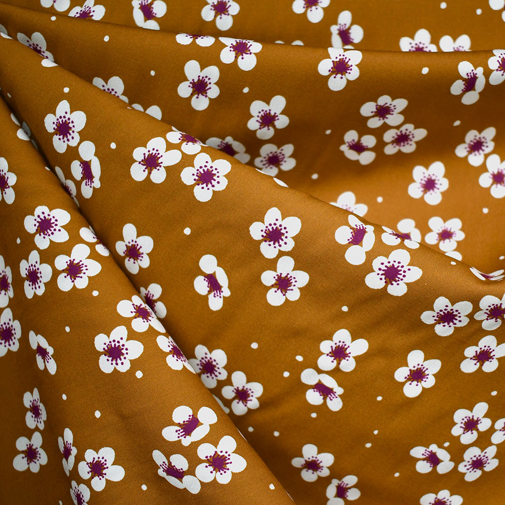 Sangria Scattered Blossom Rayon Cinnamon - Sold Out - Style Maker Fabrics