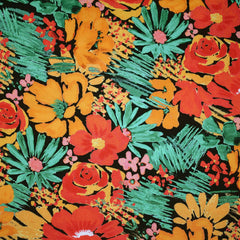 Statement Floral Rayon Twill Shirting Black/Tangerine - Fabric - Style Maker Fabrics