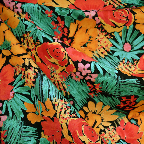 Statement Floral Rayon Twill Shirting Black/Tangerine