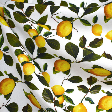 Lemon Branches Rayon Poplin White