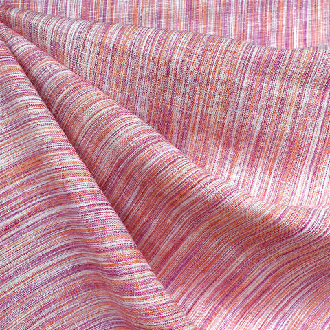 Variegated Stripe Linen Shirting Tangerine/Berry