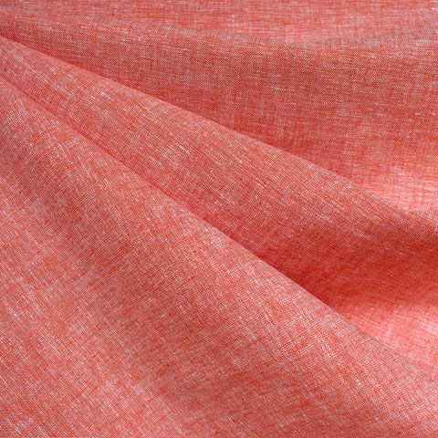 Soft Washed Linen Blend Shirting Tangerine