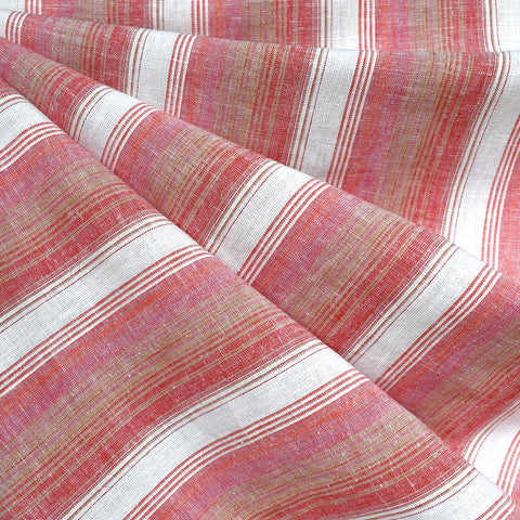 Soft Washed Stripe Linen Blend Shirting Tangerine