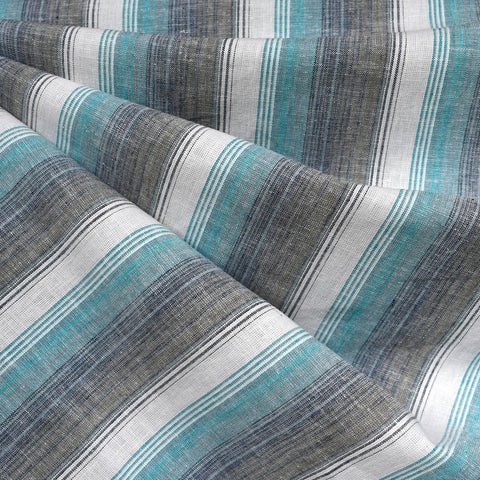 Soft Washed Stripe Linen Blend Shirting Turquoise