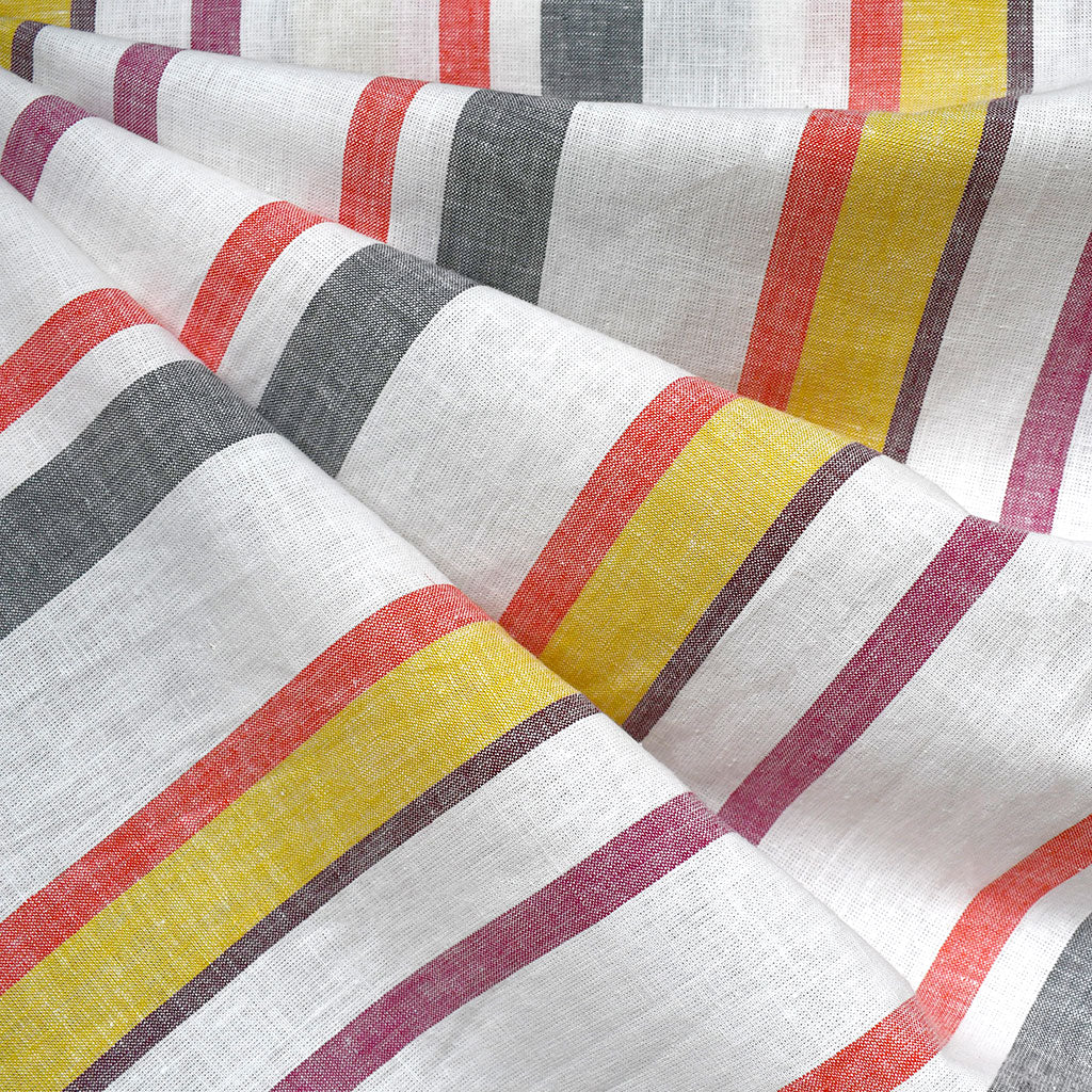 Soft Washed Summer Stripe Linen Blend Shirting Vanilla/Brights - Sold Out - Style Maker Fabrics