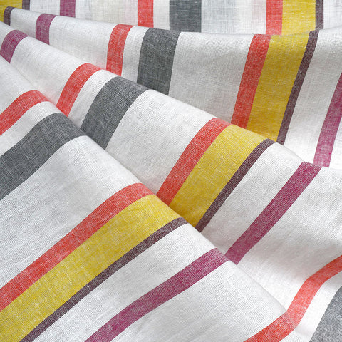 Soft Washed Summer Stripe Linen Blend Shirting Vanilla/Brights