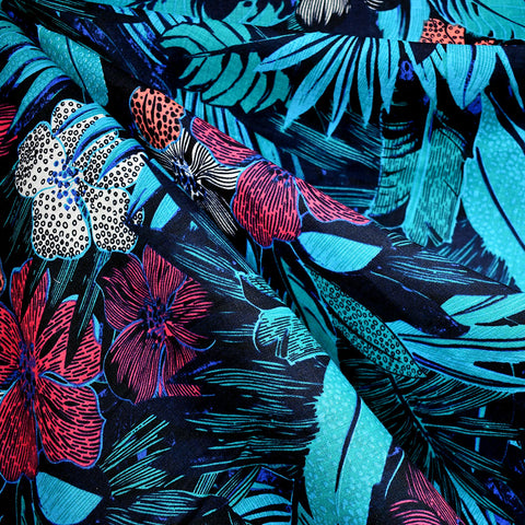 Graphic Tropical Floral Linen Shirting Black/Turquoise