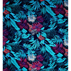 Graphic Tropical Floral Linen Shirting Black/Turquoise - Fabric - Style Maker Fabrics