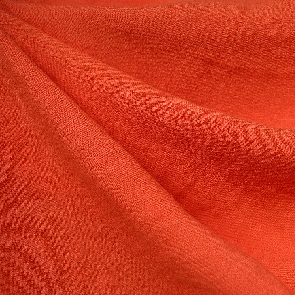 Washed Linen Shirting Solid Tangerine - Fabric - Style Maker Fabrics