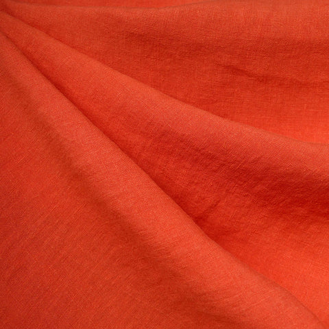 Washed Linen Shirting Solid Tangerine