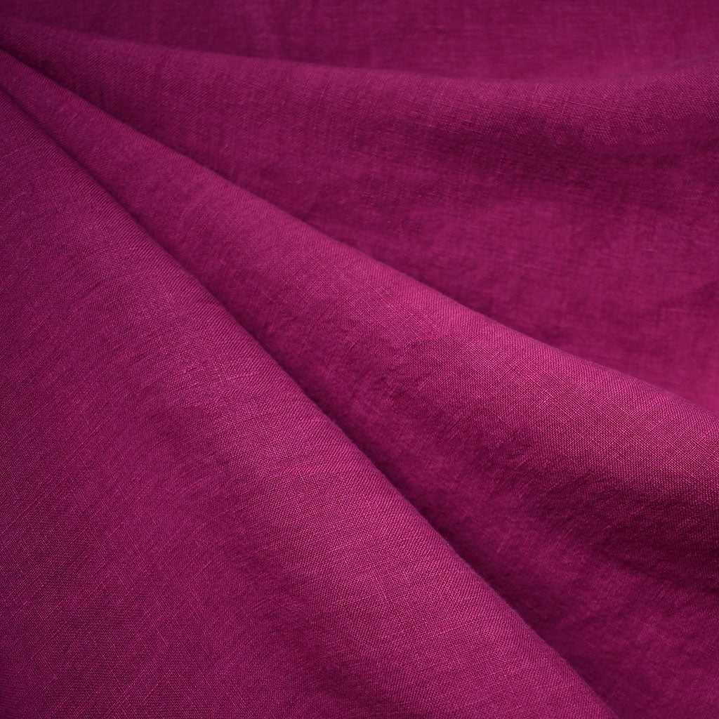 Washed Linen Shirting Solid Berry - Fabric - Style Maker Fabrics