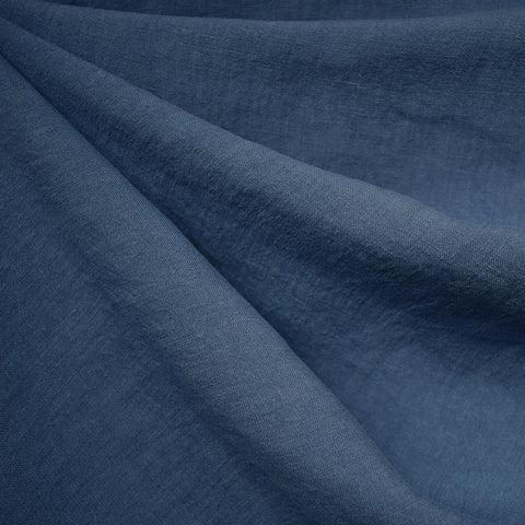 Washed Linen Shirting Solid Blue