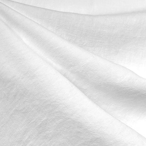 Soft Washed Linen Shirting Solid White—Preorder