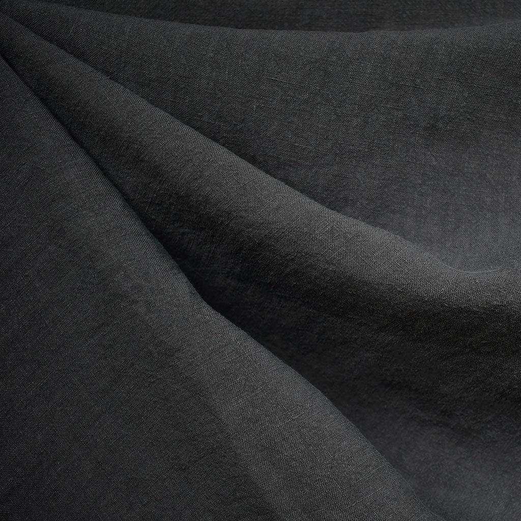 Soft Washed Linen Shirting Solid Charcoal SY - Sold Out - Style Maker Fabrics