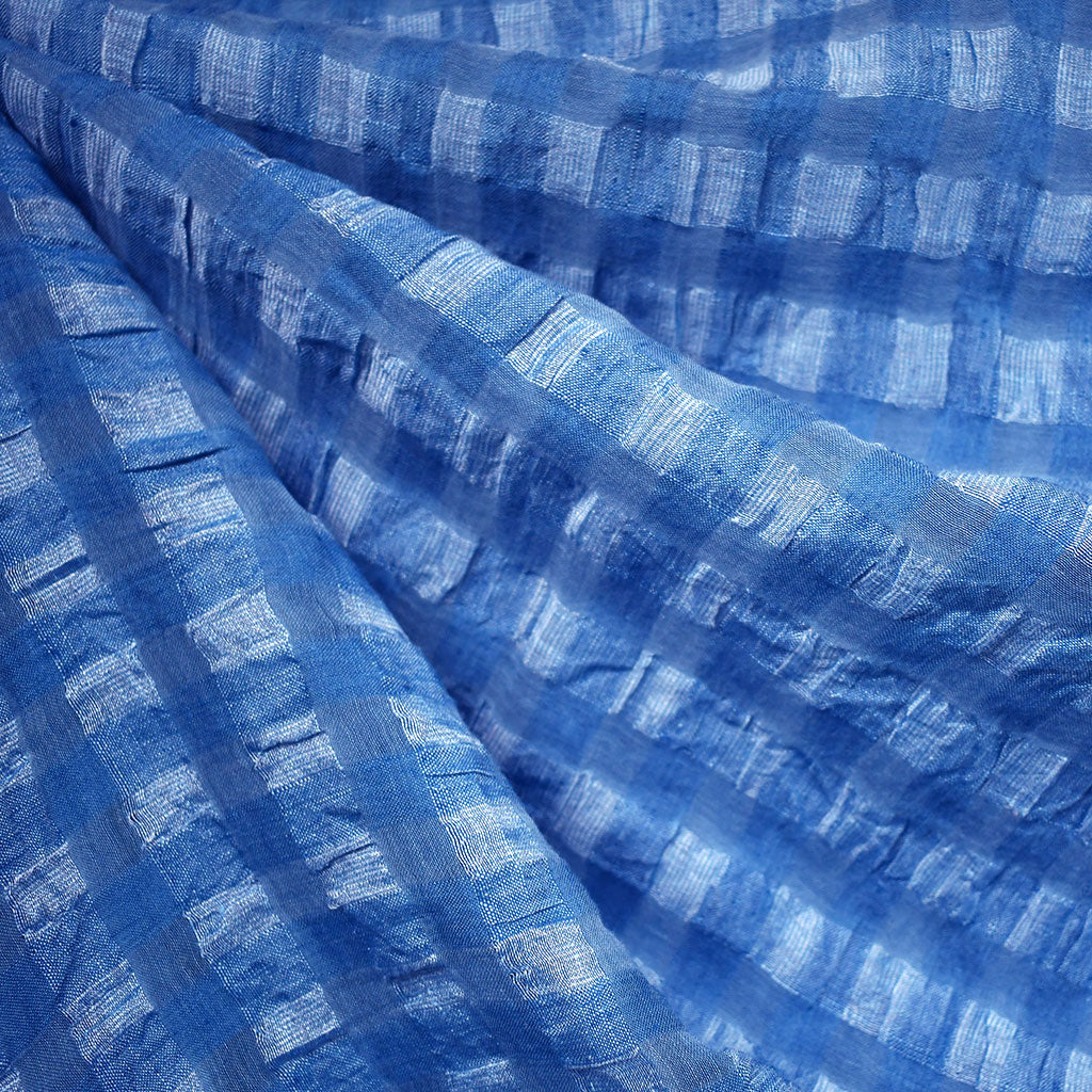Shadow Check Linen Blend Crinkle Shirting Blue - Fabric - Style Maker Fabrics