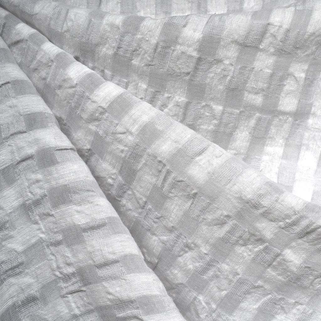 Shadow Check Linen Blend Crinkle Shirting Dove SY - Sold Out - Style Maker Fabrics