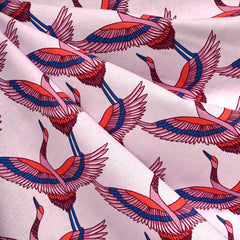 Airflow In Flight Cranes Print Cotton Opal SY - Sold Out - Style Maker Fabrics