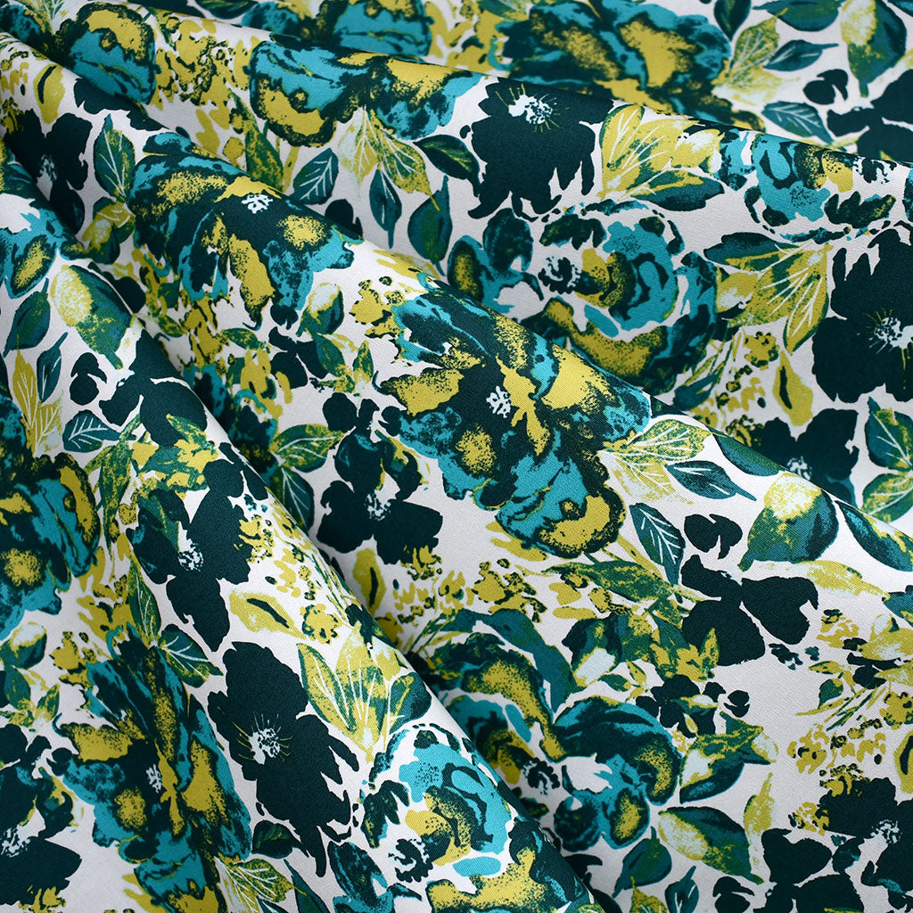 365 Fifth Avenue Dressing Room Floral Premium Cotton Teal - Fabric - Style Maker Fabrics