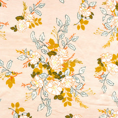 Her & History Secret Garden Jersey Knit Peach - Fabric - Style Maker Fabrics