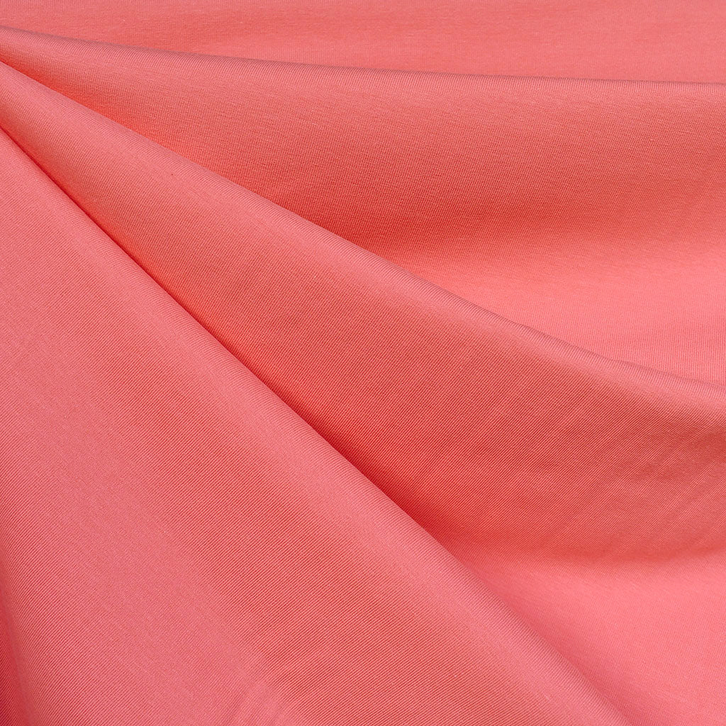 Mid Weight Cotton Jersey Knit Solid Coral - Fabric - Style Maker Fabrics