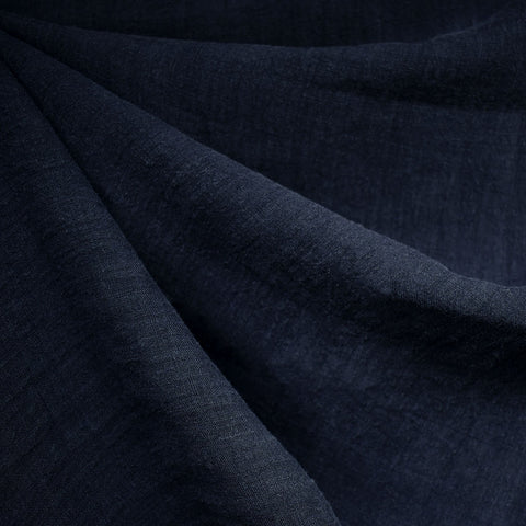 Washed Linen Shirting Solid Navy