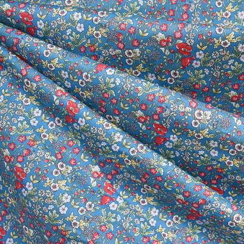 Japanese Wild Flower Cotton Lawn Blue