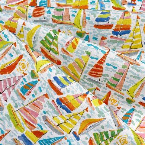 Artistic Watercolor Sailboat Cotton White/Multi