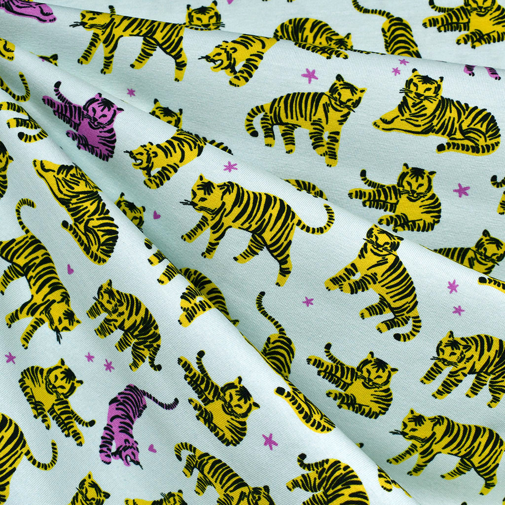 Wild and Free Sketch Tigers Jersey Knit Mist - Fabric - Style Maker Fabrics