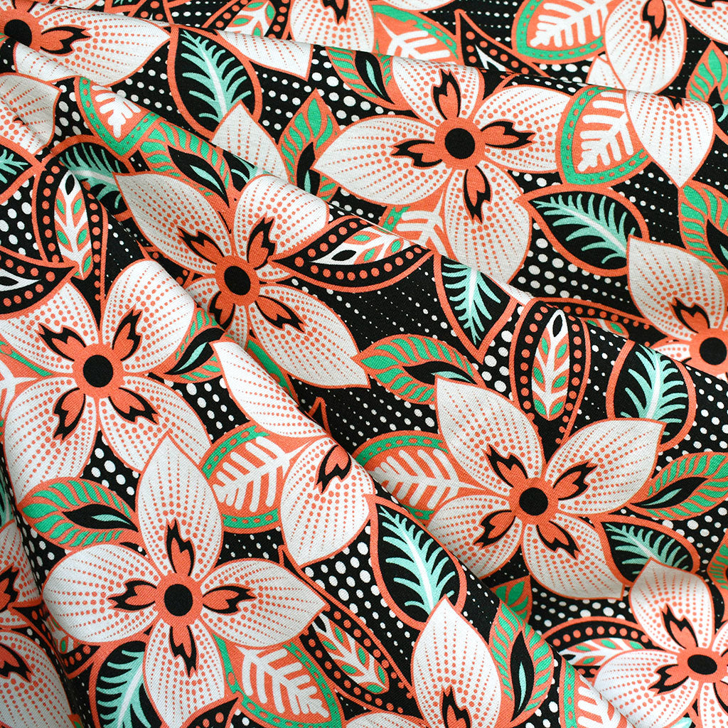 Tropical Geometric Floral Jersey Knit Black/Coral - Fabric - Style Maker Fabrics
