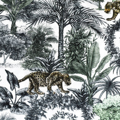 Prowling Jaguar Jungle Toile Rayon White/Sage SY - Sold Out - Style Maker Fabrics