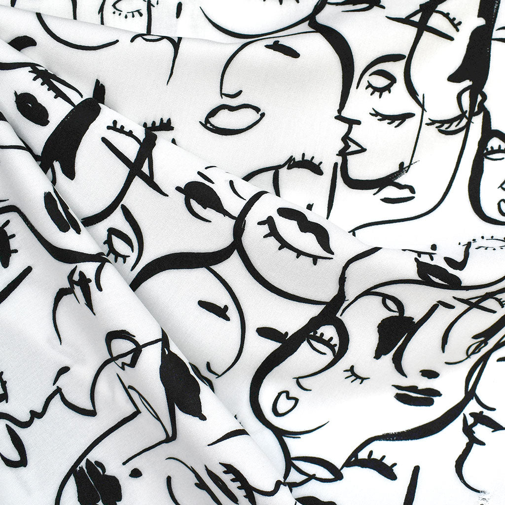 Brushstroke Cubist Faces Rayon White/Black SY - Sold Out - Style Maker Fabrics