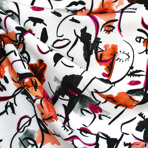 Watercolor Cubist Faces Rayon White/Paprika—Preorder