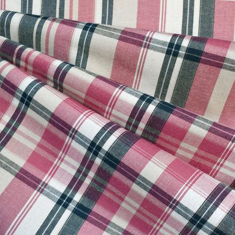 Twill Weave Plaid Shirting Pink/Navy