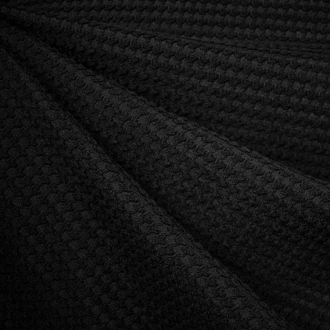 Houndstooth Texture Wool Blend Coating Black