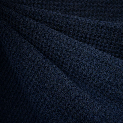 Houndstooth Texture Wool Blend Coating Navy