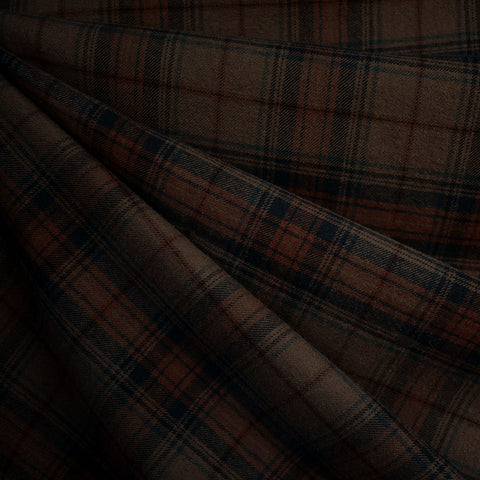Tonal Plaid Soft Flannel Shirting Espresso
