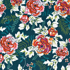 Trouvaille Everblooming Camellia Floral Premium Cotton Jade - Fabric - Style Maker Fabrics