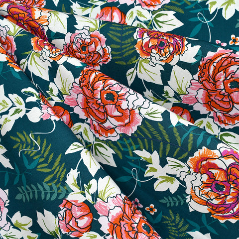Trouvaille Everblooming Camellia Floral Premium Cotton Jade
