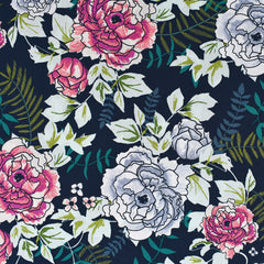 Trouvaille Everblooming Camellia Floral Premium Cotton Navy - Fabric - Style Maker Fabrics