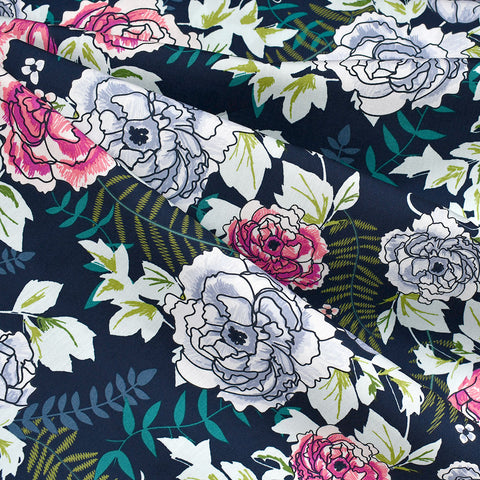 Trouvaille Everblooming Camellia Floral Premium Cotton Navy