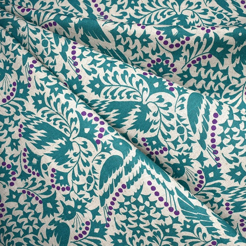 Japanese Artistic Lino Birds Linen Blend Shirting Aqua